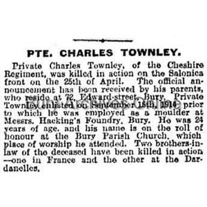 Townley, Private Charles Obituaries