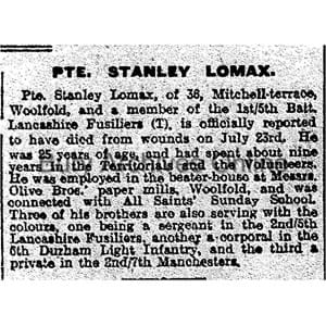Lomax, Pte. Stanley Obituaries