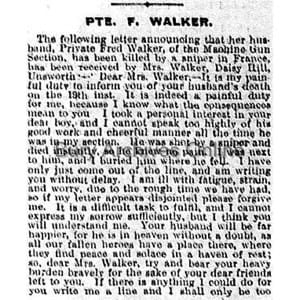 Walker, Private Fred Obituaries