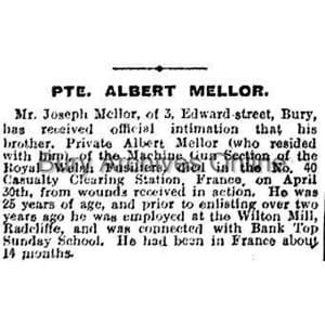Mellor, Private Albert Obituaries
