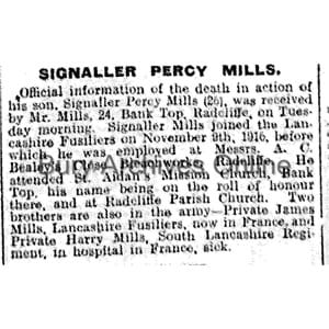 Mills, Signaller Percy Obituaries